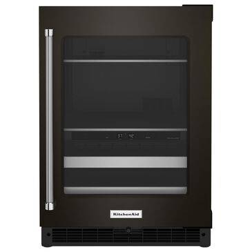 """KitchenAid 24"""" Beverage Center with Right Hinge and Metal-Front Racks in Black Stainless Steel, , large"""
