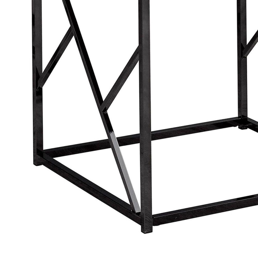 Monarch Specialties End Table in Black Nickel Metal and Mirror Top, , large