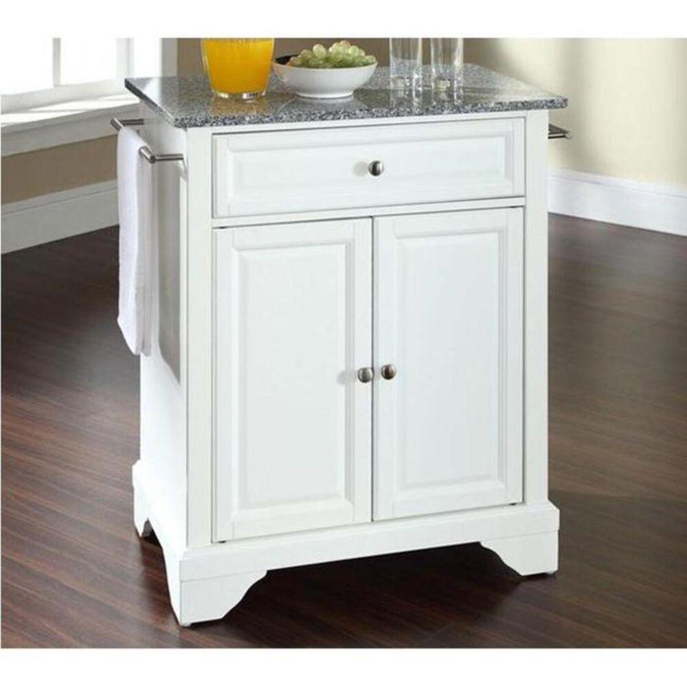 Crosley Furniture Lafayette Solid Granite Top Portable Kitchen Island in White, , large