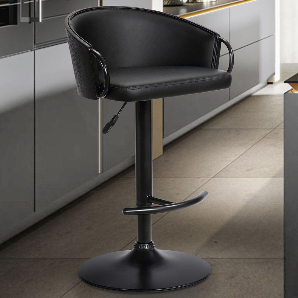 Blue River Montego Adjustable Swivel Barstool in Black, , large