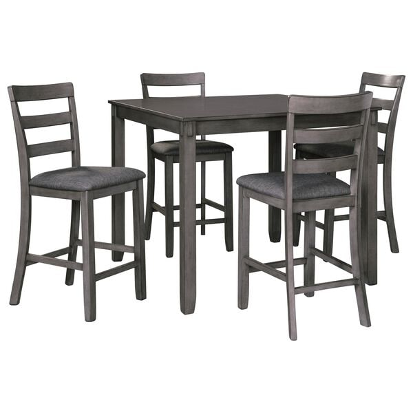Signature Design by Ashley Bridson 5-Piece Square Counter Table Set in Medium Charcoal Gray