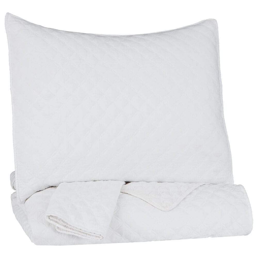 Signature Design by Ashley Ryter 3-Piece Full/Queen Coverlet Set in White, , large