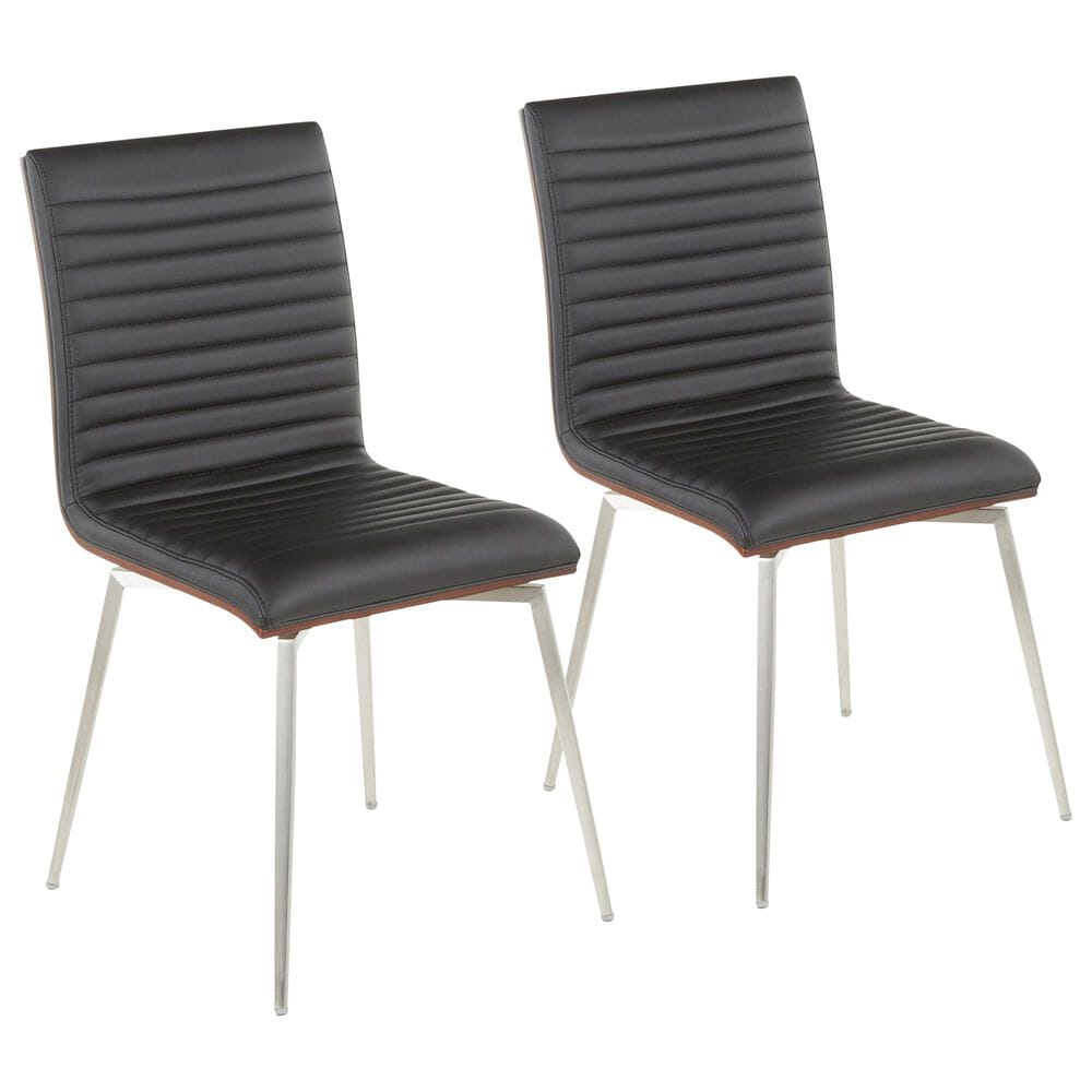 Lumisource Mason Dining Chair in Black/Walnut/Stainless Steel (Set of 2), , large