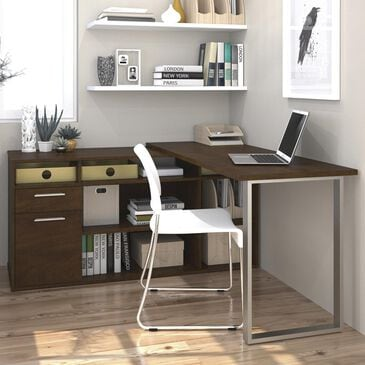 Bestar Solay L-Shaped Desk In Chocolate, , large