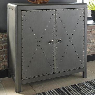 Signature Design by Ashley Rock Ridge 2-Door Accent Cabinet in Gunmetal Finish, , large