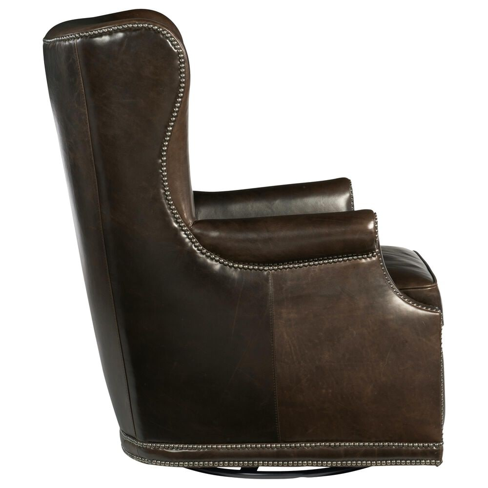 Hooker Furniture Maya Leather Wing Swivel Chair in Brown, , large