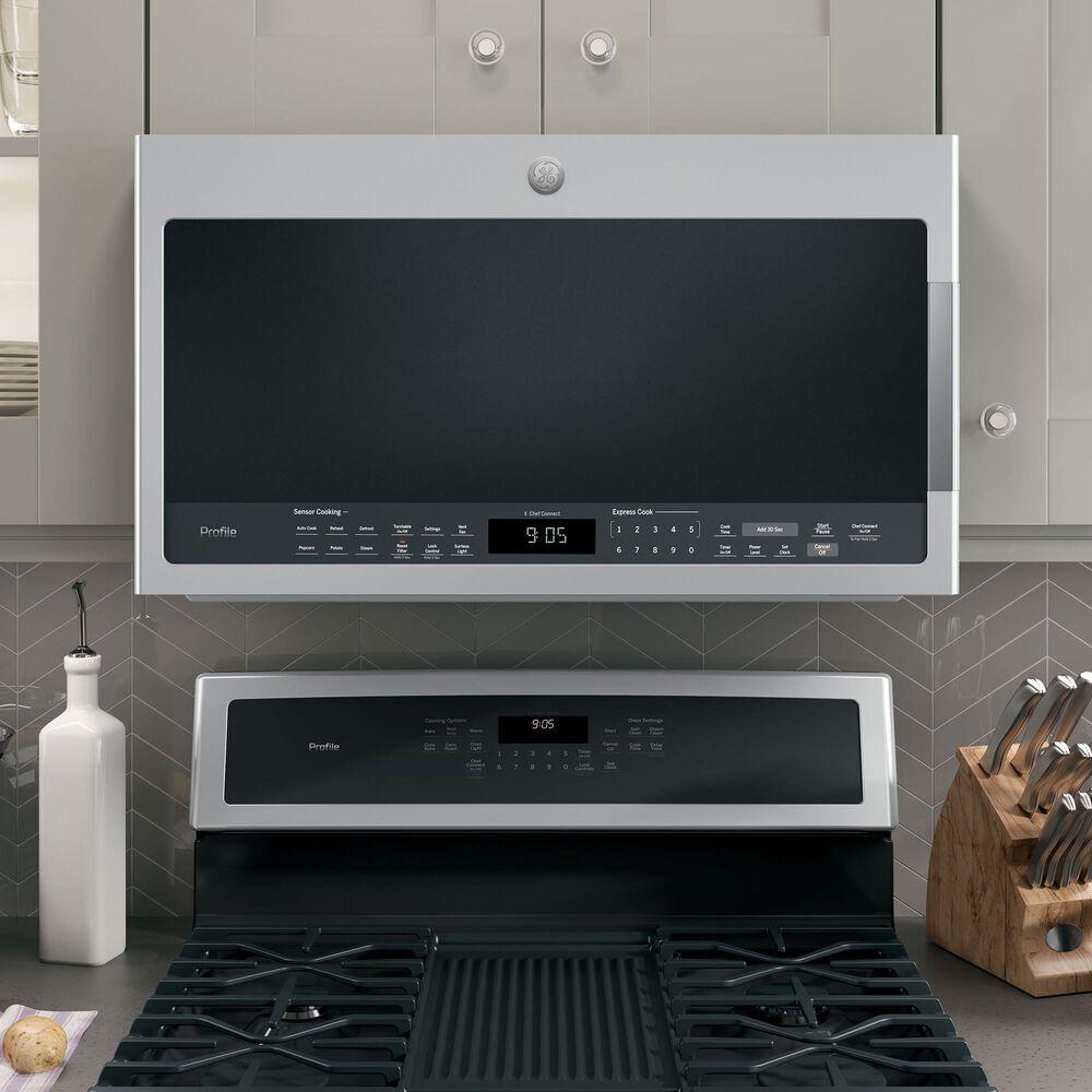GE Appliances 5.6 Cu. Ft. Smart Free-Standing Gas Range and 2.1 Cu. Ft. Over-the-Range Sensor Microwave Oven in Fingerprint Resistant Stainless Steel, , large