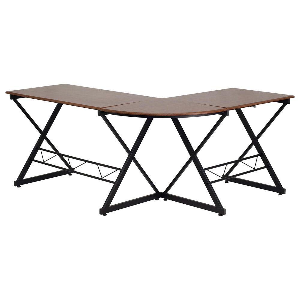 Flash Furniture L-Shape Desk in Brown, , large