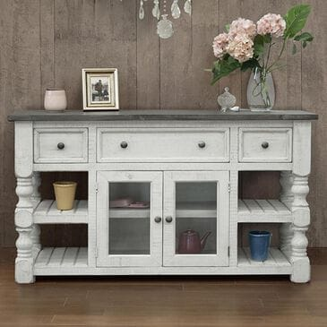"Fallridge Stoneart 60"" TV Stand in Distressed White, , large"