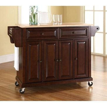Crosley Furniture Natural Wood Top Kitchen Cart in Vintage Mahogany, , large