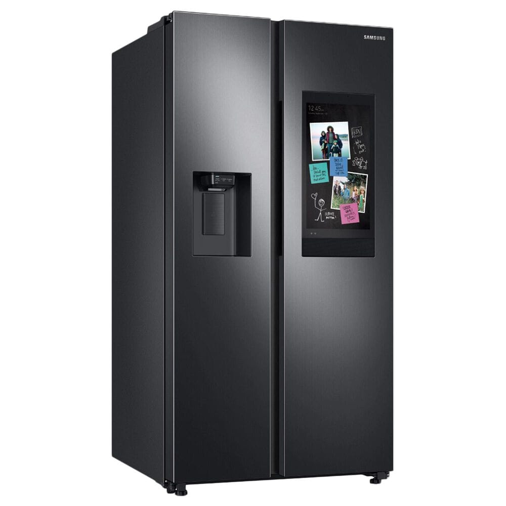 Samsung 26.7 Cu. Ft. Large Capacity Side by Side Refrigerator with Touch Screen Family Hub in Black Stainless Steel, , large