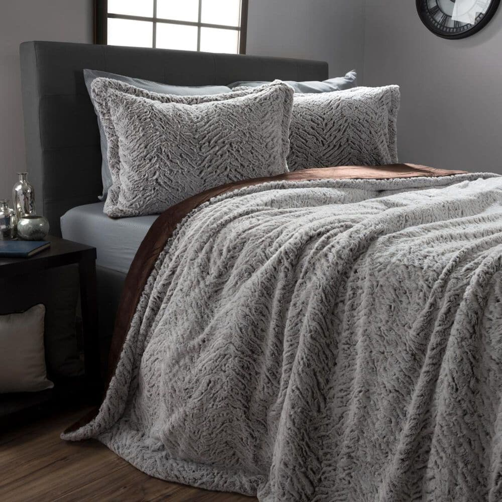 Timberlake Faux Fur 3-Piece Queen Comforter and Sham Set in Grey and Chocolate, , large