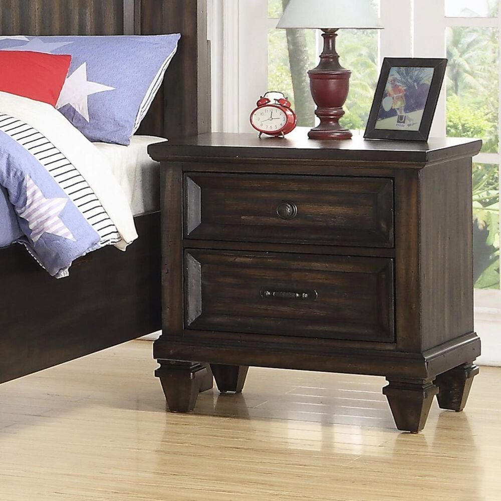 New Heritage Design Sevilla 2 Drawer Nightstand in Walnut with USB Ports, , large