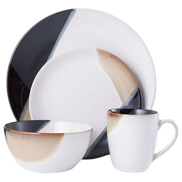 Lifetime Brands Caden 16-Piece Dinnerware Set in Brown, Black and Cream, , large