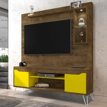 """Manhattan Baxter 62.99"""" Entertainment Center in Rustic Brown/Yellow, , large"""