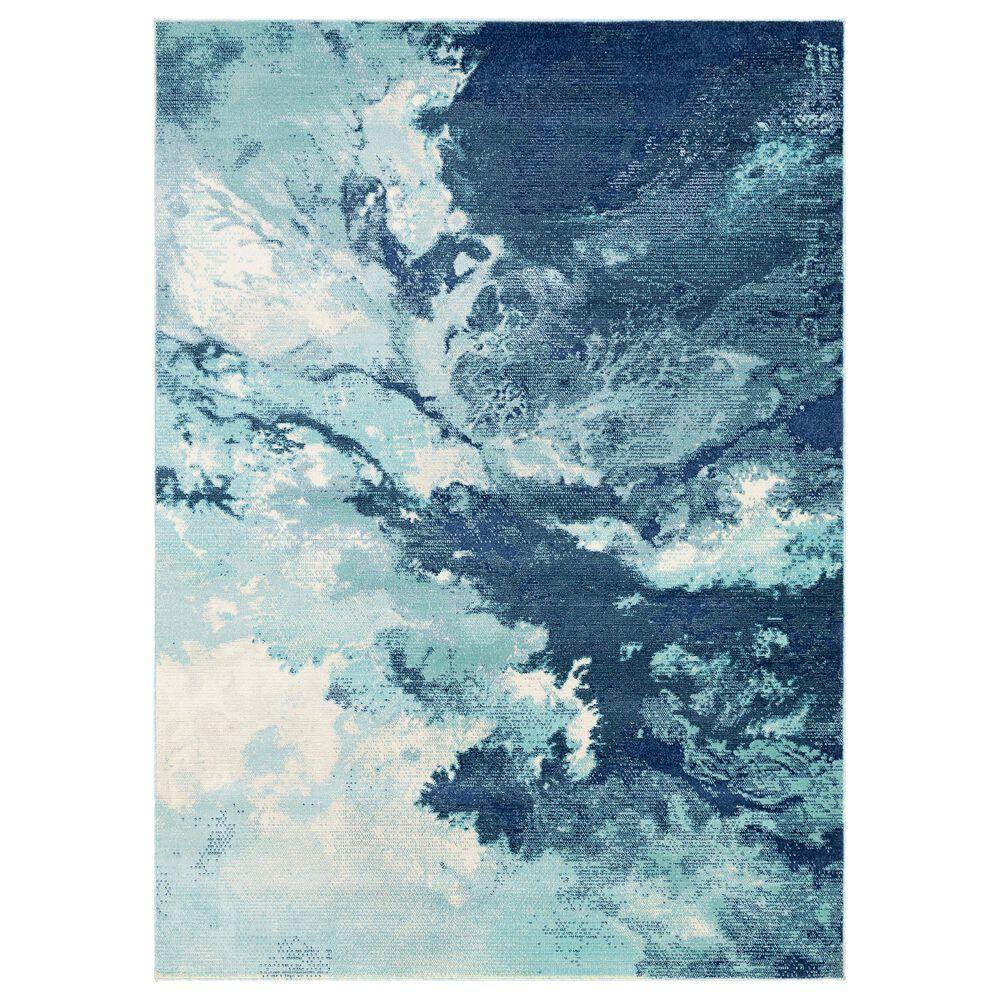 "Surya Bodrum 6' x 9'11"" Ivory, Gray, Navy, Aqua and Blue Area Rug, , large"
