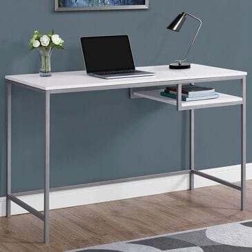 """Monarch Specialties 48"""" Computer Desk in White and Silver, , large"""