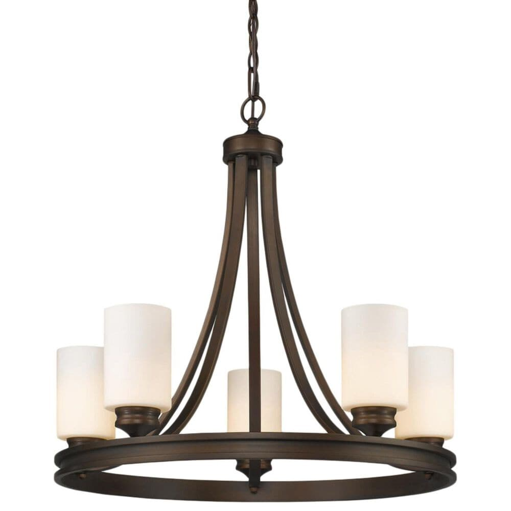 Golden Lighting Hidalgo Five-Light Chandelier in the Sovereign Bronze finish with Opal Glass, , large