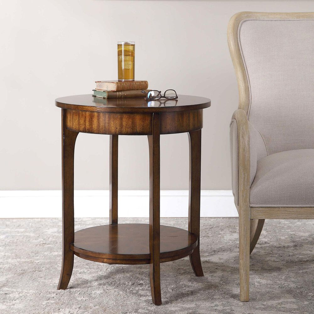 Uttermost Carmel Lamp Table in Light Brown Wood, , large