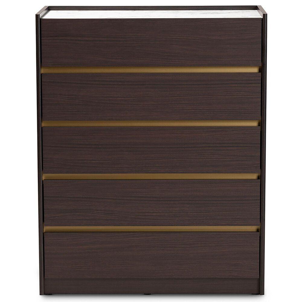 Baxton Studio Walker 5 Drawer Storage Chest in Brown/Marble/Gold, , large