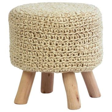 Blue Sun Designs Zola Pouf in Ivory, , large