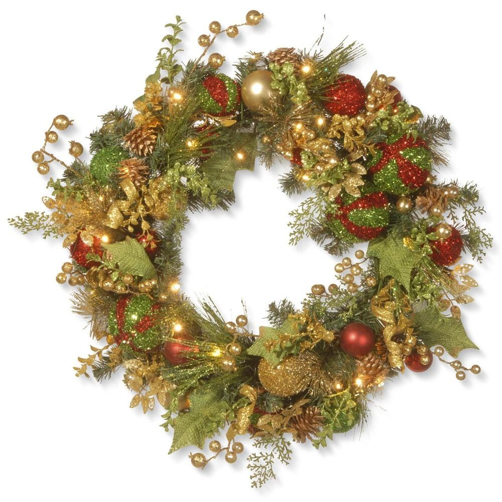 """National Tree 30"""" Decorated Christmas Wreath with Battery Operated LED Lights, , large"""
