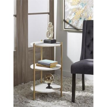 37B 3-Tier Round Accent Table in Gold and White Marble, , large