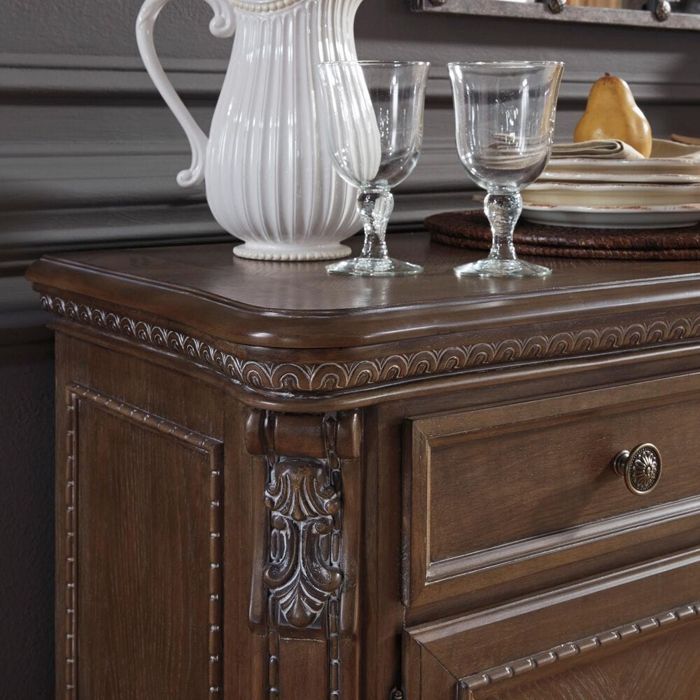 Signature Design by Ashley Charmond Buffet and Hutch in Dark Brown, , large