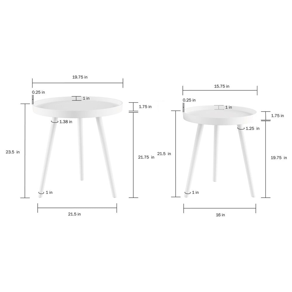 Timberlake Hastings Home End Table in Matte White (Set of 2), , large