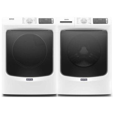 Maytag 4.8 Cu. Ft. Front Load Washer with Steam and a 7.3 Cu. Ft. Electric Dryer - White, White, large