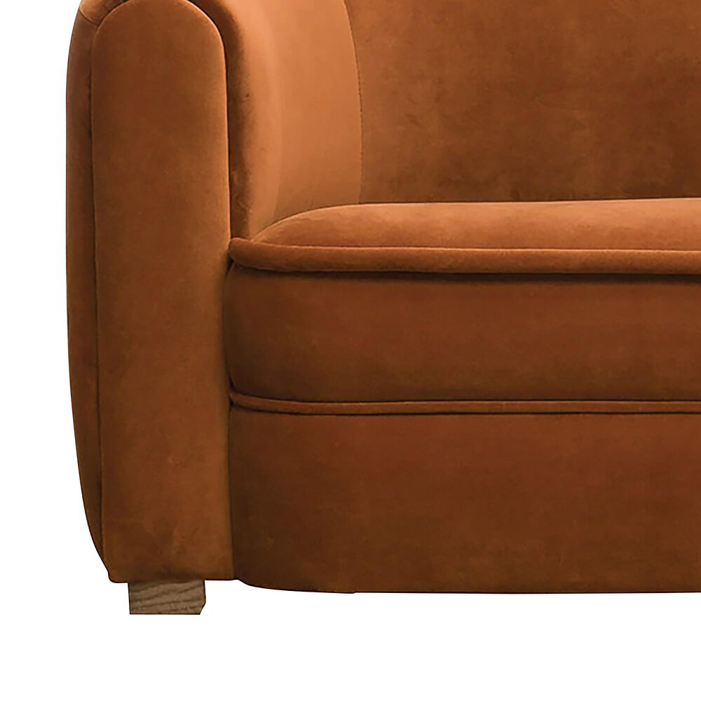 Teak Interiors Saffron and Ginger Velvet Upholstered Sofa in Orange, , large