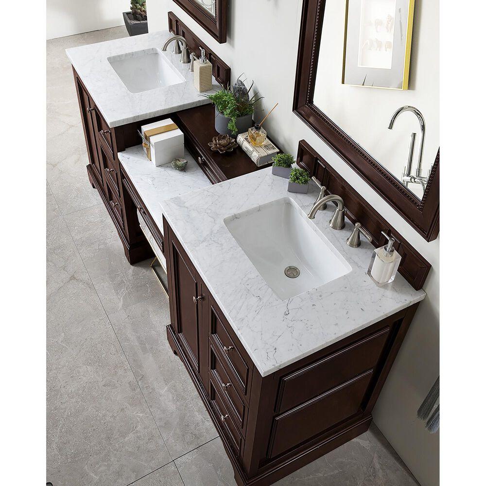 James Martin De Soto 82 Double Bathroom Vanity In Burnished Mahogany With 3 Cm Carrara White Marble Top Nebraska Furniture Mart