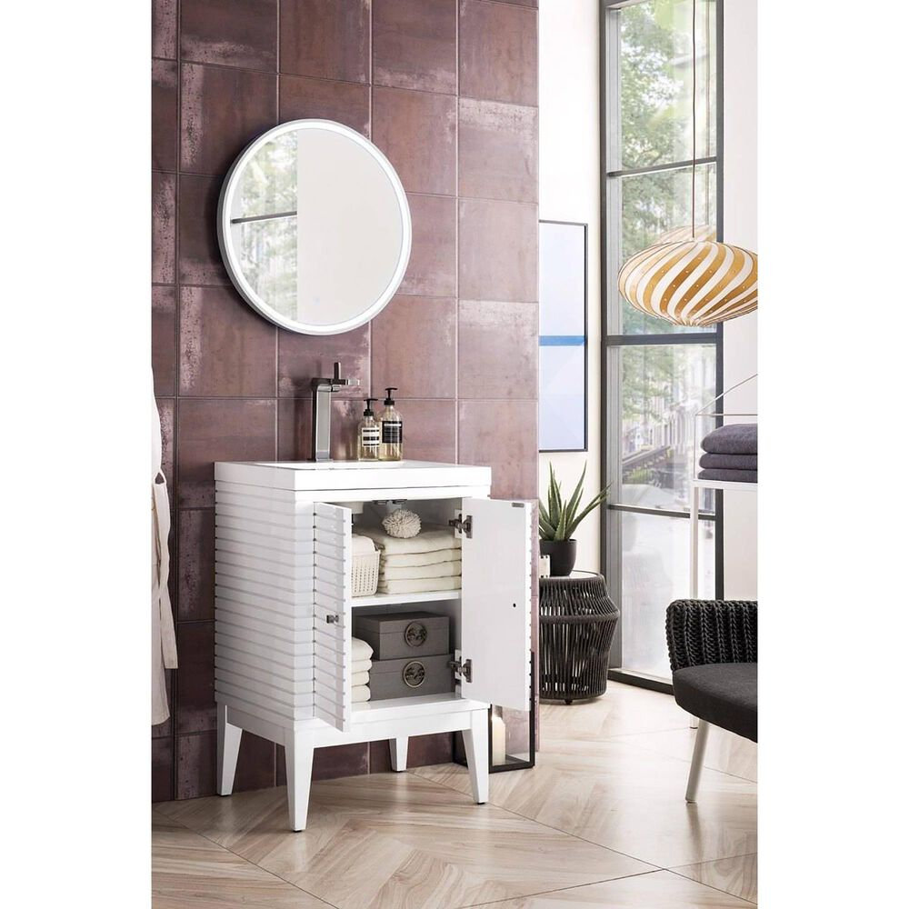 """James Martin Linden 24"""" Single Vanity Cabinet in Glossy White with White Glossy Resin Countertop, , large"""