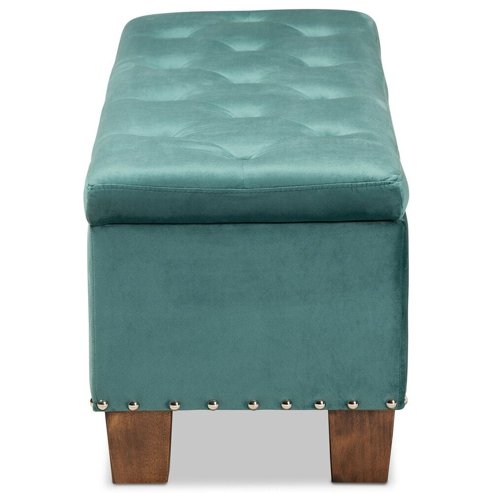 Baxton Studio Hannah Storage Ottoman Bench in Teal Blue/Brown, , large