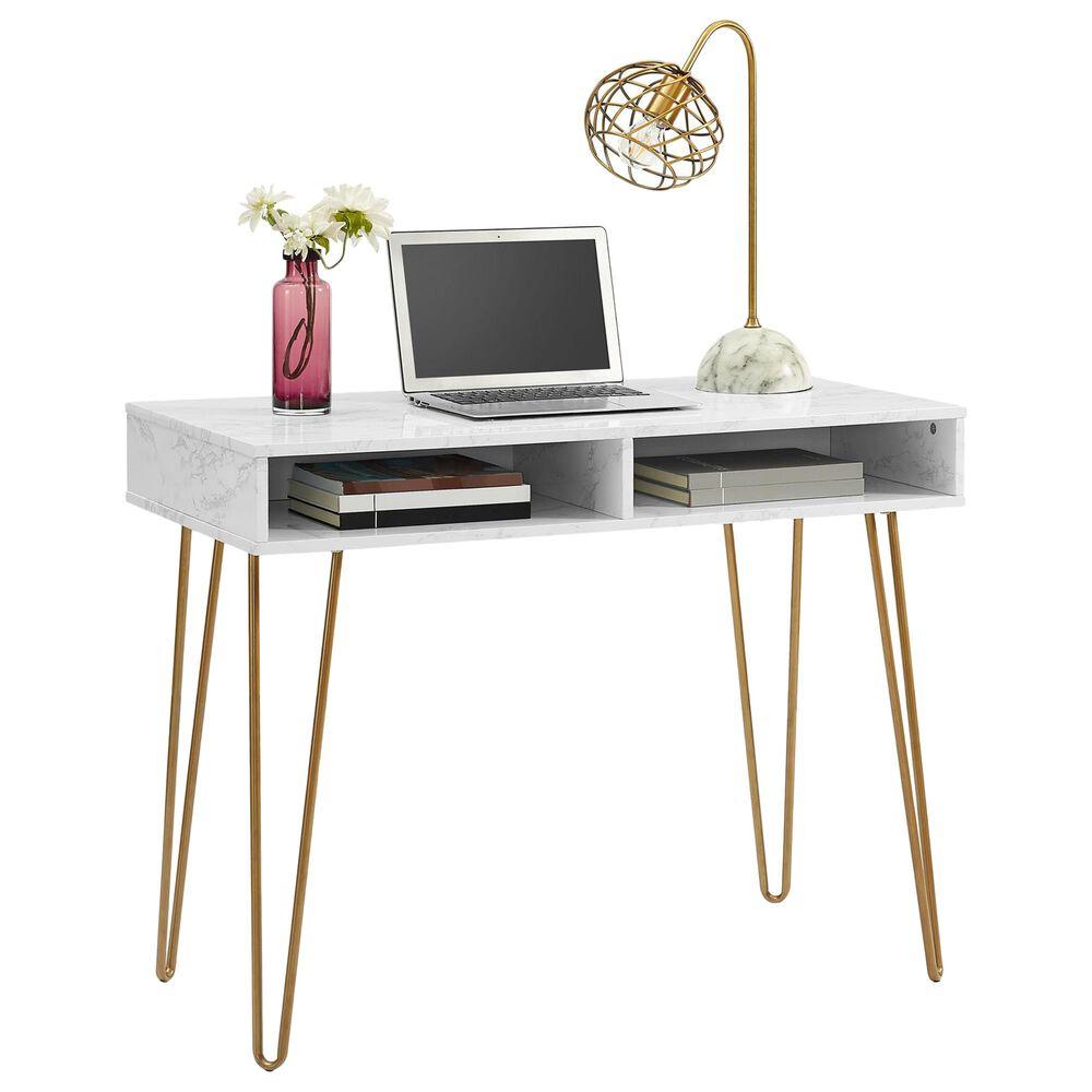 Novogratz Athena Computer Desk with Storage in White marble, , large