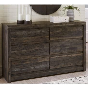 Signature Design by Ashley Vay Bay 6 Drawer Dresser in Rustic Charcoal, , large