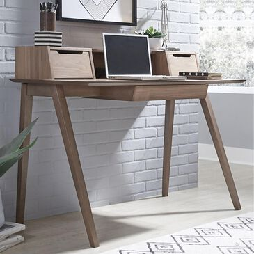 Belle Furnishings Space Savers Writing Desk with Hutch in Satin Walnut, , large
