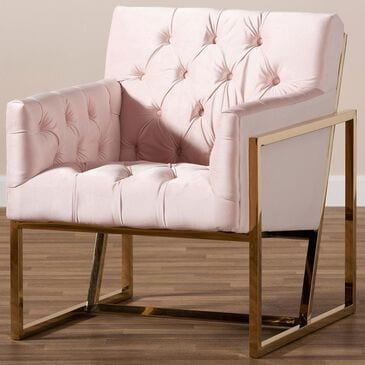 Baxton Studio Milano Lounge Chair in Pink and Gold, , large
