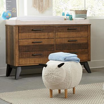 Eastern Shore Urban Rustic 6 Drawer Dresser in Brushed Wheat, , large