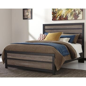 Signature Design by Ashley Harlinton Queen Panel Bed in Warm Gray and Charcoal, , large