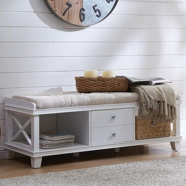 Southern Enterprises Wyndcliff Storage Bench in White/Taupe, , large