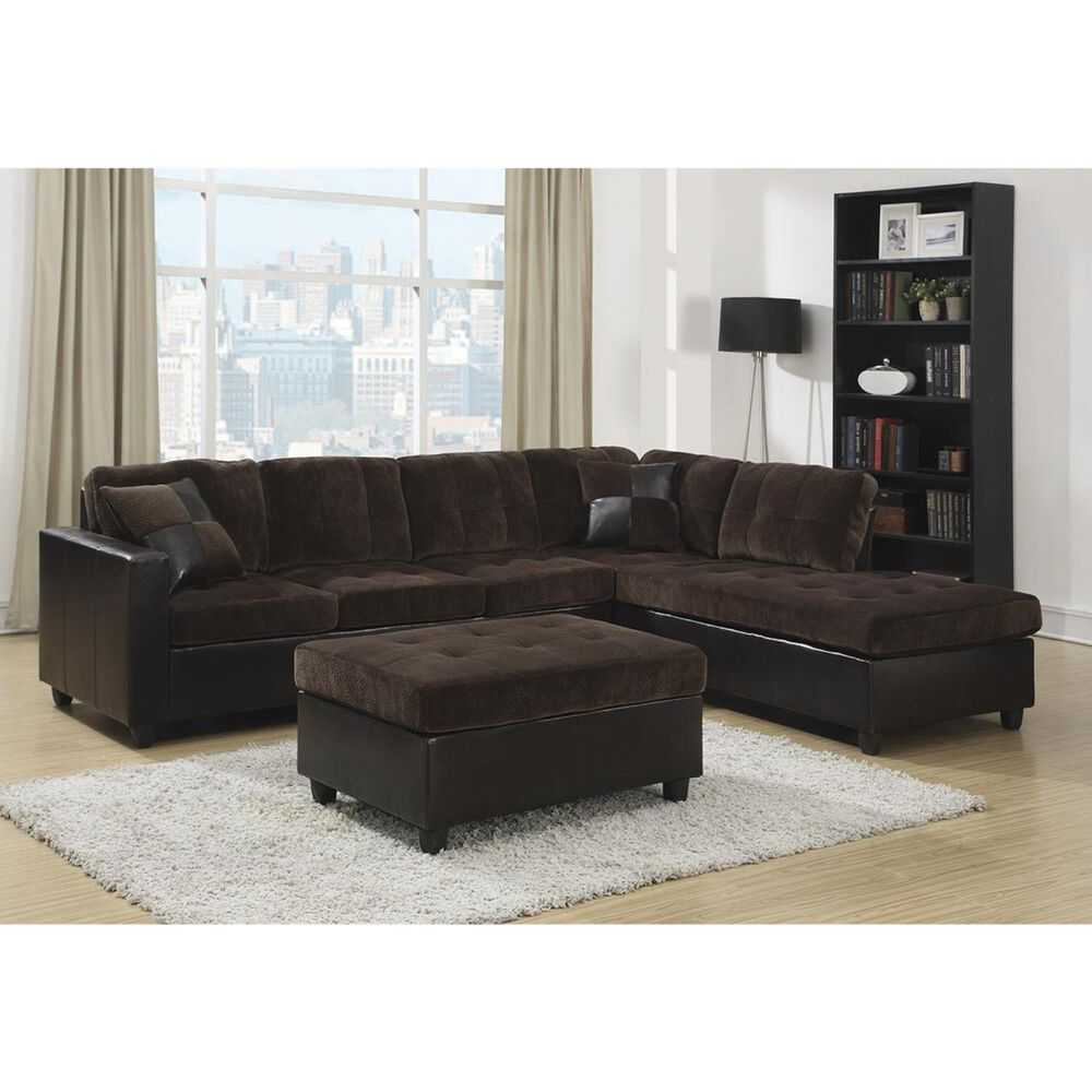 Pacific Landing Mallory Casual and Contemporary Ottoman in Dark Chocolate, , large