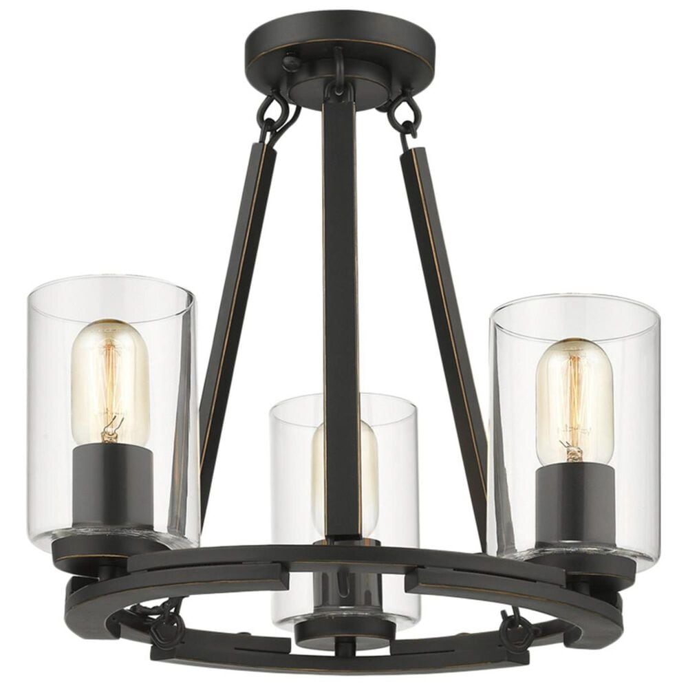 Golden Lighting Monroe Convertible 3-Light Chandelier in Black with Clear Glass, , large