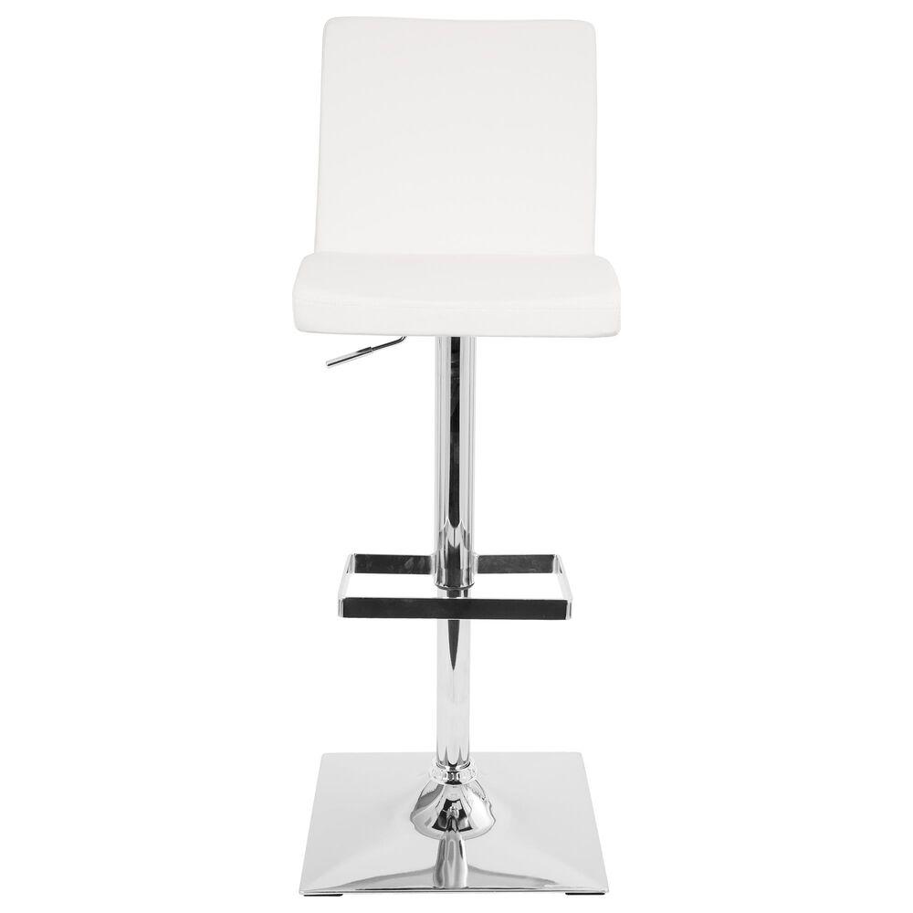 Lumisource Captain Adjustable Swivel Barstool in White/Chrome, , large