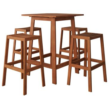 CorLiving Miramar 5-Piece Patio Pub Table Set in Brown, , large