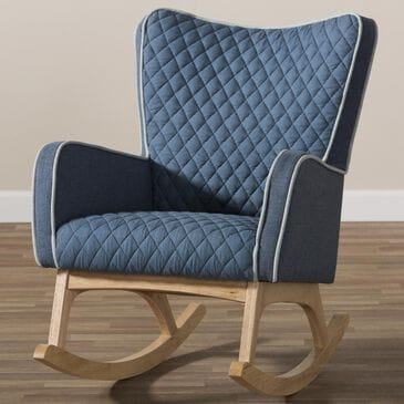 Baxton Studio Zoelle Rocking Chair in Blue, , large