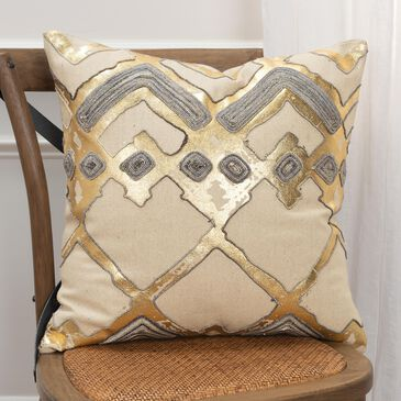 "Rizzy Home Geometric 20"" Down Filled Pillow in Natural, , large"