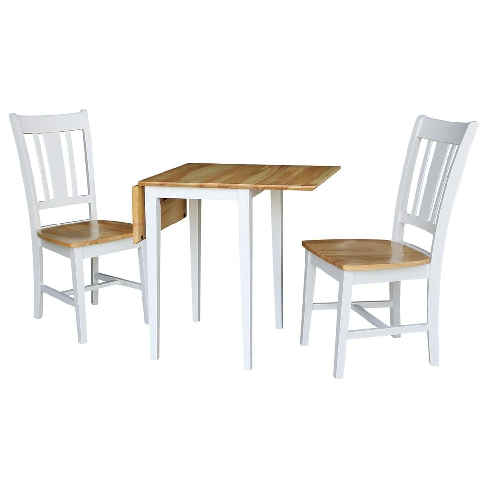 International Concepts San Remo 3-Piece Dining Set in White/Natural, , large