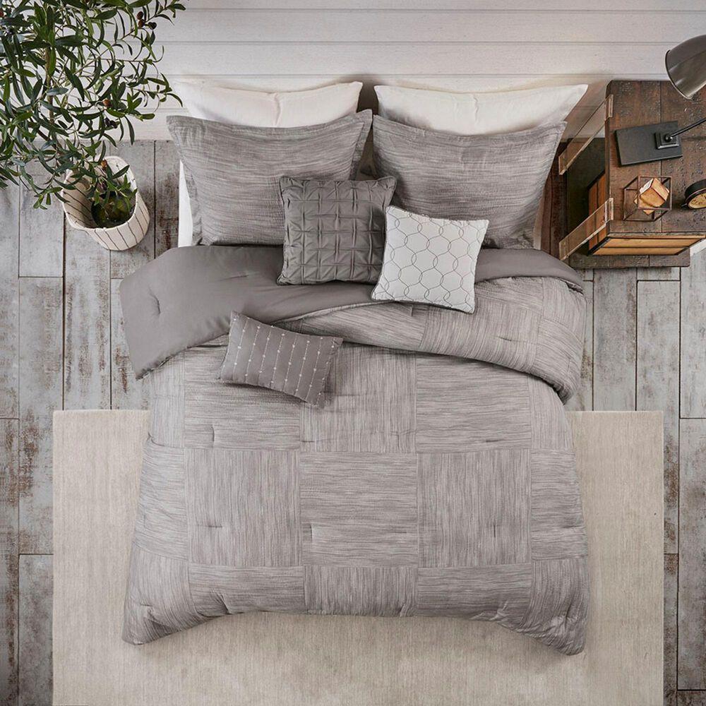 Hampton Park Walter 7-Piece Printed Seersucker Queen Comforter Set in Grey, , large