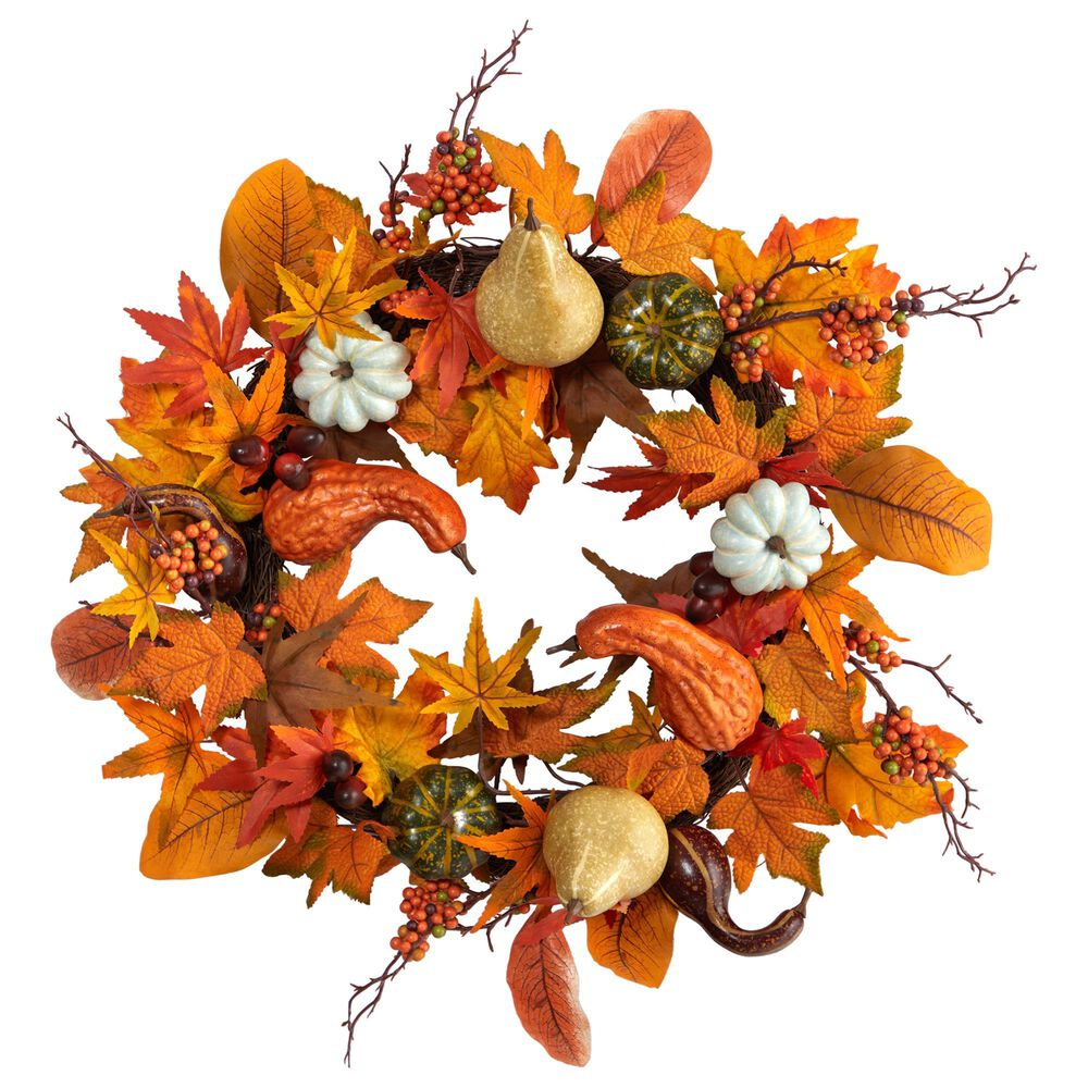 Nearly Natural Inc 24in. Autumn Pumpkin, Gourd and Berries in Assorted Colors Artificial Fall Wreath, , large